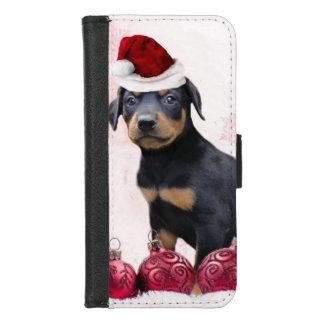 Capa Carteira Para iPhone 8/7 iPhone do cão do Pinscher do Doberman do Natal 8/7