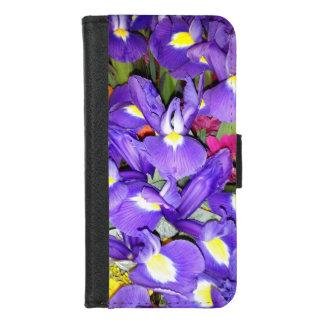 Capa Carteira Para iPhone 8/7 Íris azuis e flores vermelhas do Gerbera
