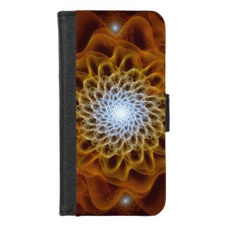 Capa Carteira Para iPhone 8/7 Luz ambarina de Brown do ouro - floral azul