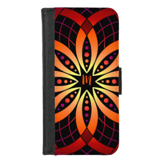 Capa Carteira Para iPhone 8/7 Mandala digital roxa alaranjada do ombre da arte