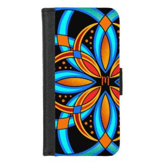 Capa Carteira Para iPhone 8/7 mandala monogrammed alaranjada azul da arte