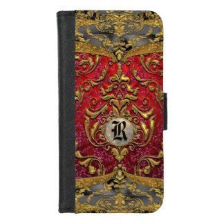 Capa Carteira Para iPhone 8/7 Monograma bonito barroco do damasco de Ufaycicle