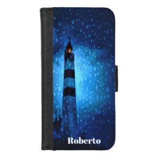 Capa Carteira Para iPhone 8/7 O farol com gotas um a noite tormentoso adiciona o