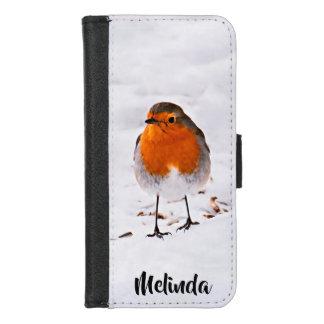 Capa Carteira Para iPhone 8/7 O pássaro bonito do pisco de peito vermelho na