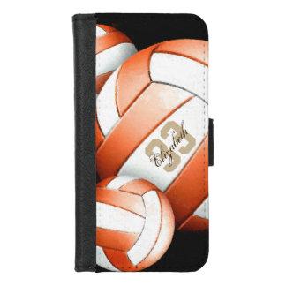 Capa Carteira Para iPhone 8/7 O voleibol branco alaranjado conhecido da mulher