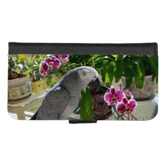 Capa Carteira Para iPhone 8/7 Papagaio do cinza africano com orquídeas