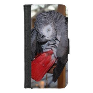 Capa Carteira Para iPhone 8/7 Papagaio flexível do cinza africano de Congo com