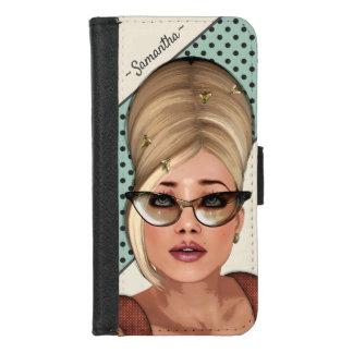 Capa Carteira Para iPhone 8/7 Penteado engraçado da colmeia da forma retro dos