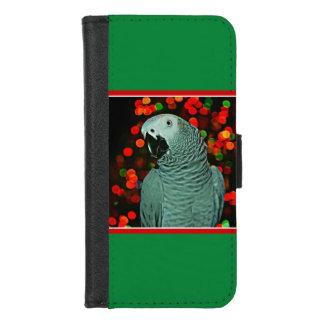 Capa Carteira Para iPhone 8/7 Pintura do papagaio do cinza africano com árvore