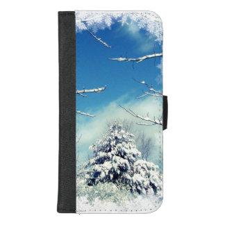 Capa Carteira Para iPhone 8/7 Plus Árvore no iPhone da neve do inverno 8/7 de caixa