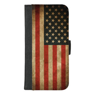 Capa Carteira Para iPhone 8/7 Plus Bandeira americana do Grunge do vintage - EUA