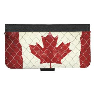Capa Carteira Para iPhone 8/7 Plus Bandeira canadense. Cerca do elo de corrente.
