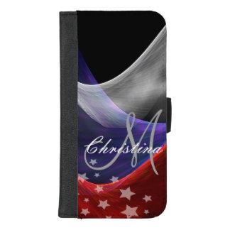 Capa Carteira Para iPhone 8/7 Plus Branco azul vermelho patriótico com estrelas e