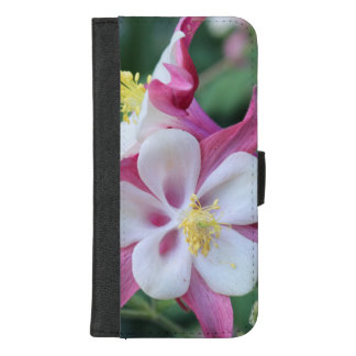 CAPA CARTEIRA PARA iPhone 8/7 PLUS CAIXA AQUILÉGIA DO ROSA E A BRANCA DA FLOR IPHONE