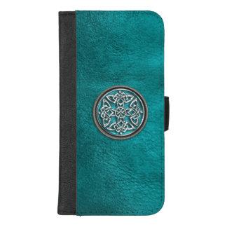 Capa Carteira Para iPhone 8/7 Plus Caixa celta de couro da carteira do nó da cerceta