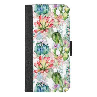 Capa Carteira Para iPhone 8/7 Plus Caixa da carteira do iPhone dos Succulents e dos