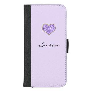 Capa Carteira Para iPhone 8/7 Plus Caixa roxa da carteira do telefone móvel do