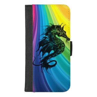 Capa Carteira Para iPhone 8/7 Plus Cavalo de mar no arco-íris