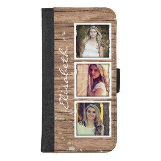 Capa Carteira Para iPhone 8/7 Plus Colagem de madeira rústica à moda da foto de