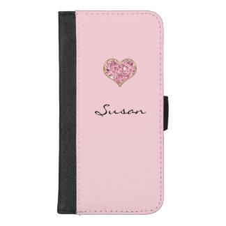 Capa Carteira Para iPhone 8/7 Plus Cora a caixa cor-de-rosa da carteira do telefone