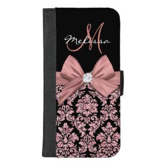 Capa Carteira Para iPhone 8/7 Plus Damasco cor-de-rosa do preto do brilho do ouro,