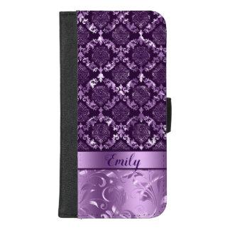 Capa Carteira Para iPhone 8/7 Plus Damasco roxo metálico & redemoinhos