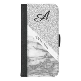 Capa Carteira Para iPhone 8/7 Plus Design branco elegante do mármore e do brilho