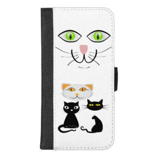 Capa Carteira Para iPhone 8/7 Plus Dos gatinhos caixa da carteira do iPhone do amante