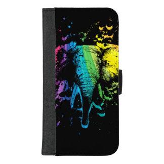 Capa Carteira Para iPhone 8/7 Plus Elefante de Bull do arco-íris no preto