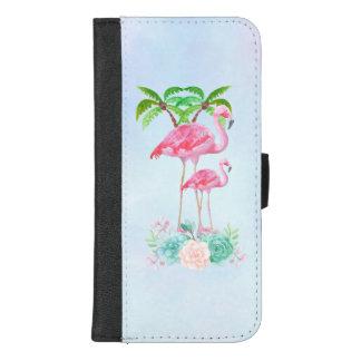 Capa Carteira Para iPhone 8/7 Plus Flamingo cor-de-rosa Momma & bebê com palmeiras
