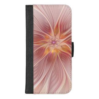 Capa Carteira Para iPhone 8/7 Plus Flor moderna do abstrato floral cor-de-rosa macio