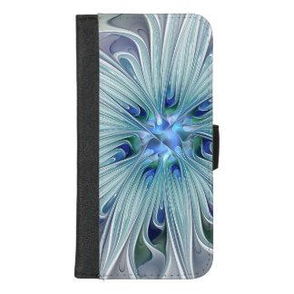 Capa Carteira Para iPhone 8/7 Plus Flor Pastel azul moderna do abstrato floral da
