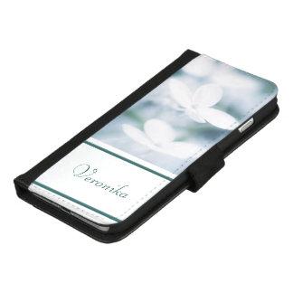 Capa Carteira Para iPhone 8/7 Plus Flores brancas bonitas do hydrangea. Adicione o