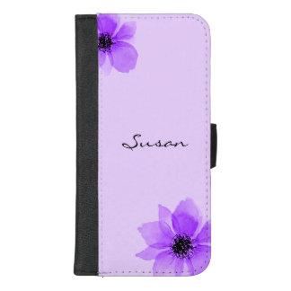 Capa Carteira Para iPhone 8/7 Plus Flores roxas caixa personalizada da carteira do