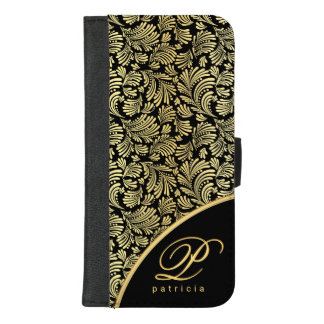 Capa Carteira Para iPhone 8/7 Plus Fólio elegante floral abstrato do monograma das
