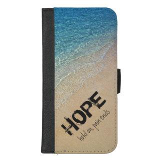 Capa Carteira Para iPhone 8/7 Plus Foto da praia com citações inspiradas - ESPERANÇA