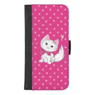 Capa Carteira Para iPhone 8/7 Plus Gatinho branco bonito com a borboleta no rosa