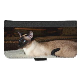 Capa Carteira Para iPhone 8/7 Plus Gato Siamese elegante