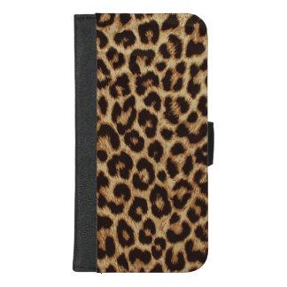 Capa Carteira Para iPhone 8/7 Plus Impressão luxuoso da pele do leopardo