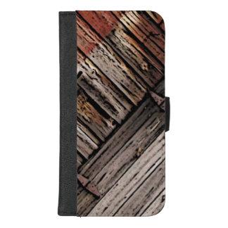 Capa Carteira Para iPhone 8/7 Plus iPhone abstrato do teste padrão da madeira 8/7 de