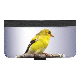 Capa Carteira Para iPhone 8/7 Plus iPhone amarelo do pássaro do Goldfinch 8/7 de