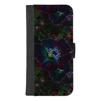 Capa Carteira Para iPhone 8/7 Plus iPhone cor-de-rosa elétrico da flor 8/7 de caixa