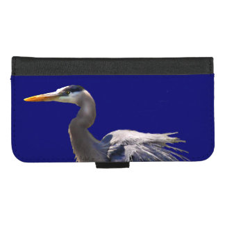 Capa Carteira Para iPhone 8/7 Plus iPhone do pássaro da garça-real de grande azul 8/7