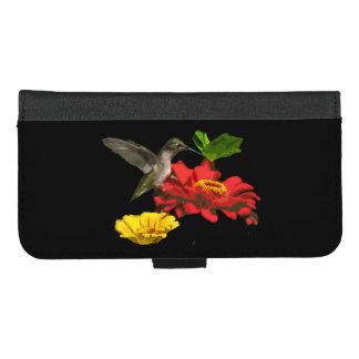 Capa Carteira Para iPhone 8/7 Plus iPhone vermelho da flor do colibri 8/7 de caixa