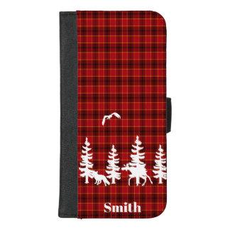 Capa Carteira Para iPhone 8/7 Plus Lenhador na verificação vermelha do búfalo da