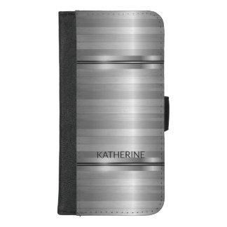 Capa Carteira Para iPhone 8/7 Plus Listras cinzentas metálicas modernas