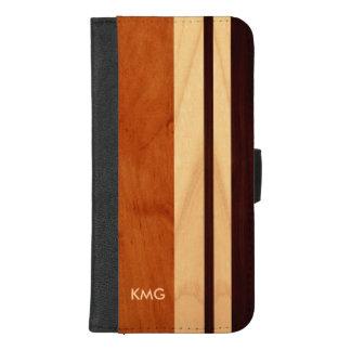 Capa Carteira Para iPhone 8/7 Plus Listras de madeira Monogrammed bonitas