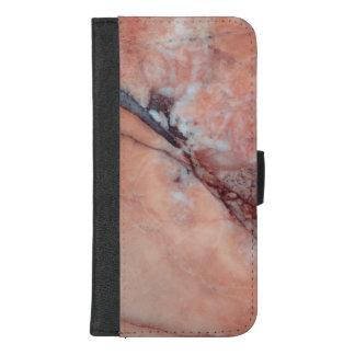 Capa Carteira Para iPhone 8/7 Plus Mármore italiano cor-de-rosa com falha