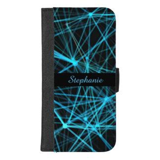 Capa Carteira Para iPhone 8/7 Plus Monograma azul de néon
