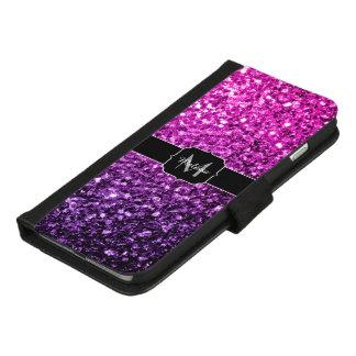 Capa Carteira Para iPhone 8/7 Plus Monograma cor-de-rosa roxo dos sparkles do brilho